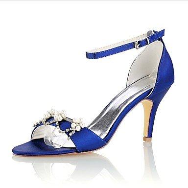 Wuyulunbi@ Frauen Schuhe Stretch Satin Sommer Basic Pumpe Hochzeit Schuhe Stiletto Heel Open Toe Crystal Pearl für Party & Abendkleid, Royal Blau, Us7.5/Eu38/Uk5.5/CN 38 (Heels Satin Toe Open Pump)