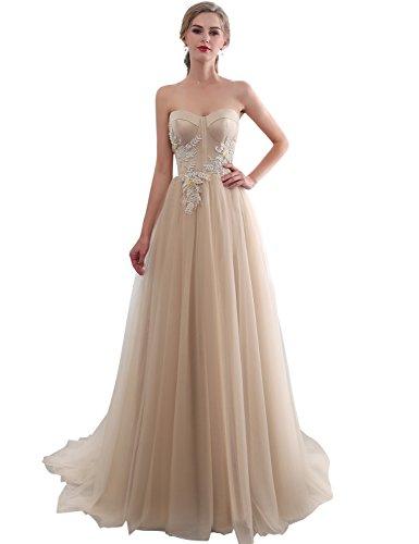Sarahbridal Damen Herzausschnitt Abendkleider Ballkleid Elegant tüll mit Pailetten SQS22655...