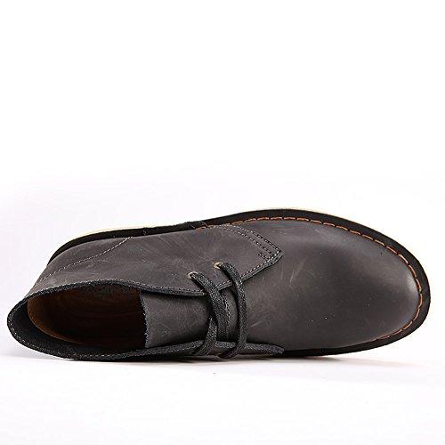 SERENE Mode Herren Wüste Arbeitsschuhe Low Top Arbeitsstiefel für Männer - Glattes Leder oder Wildleder Schwarz
