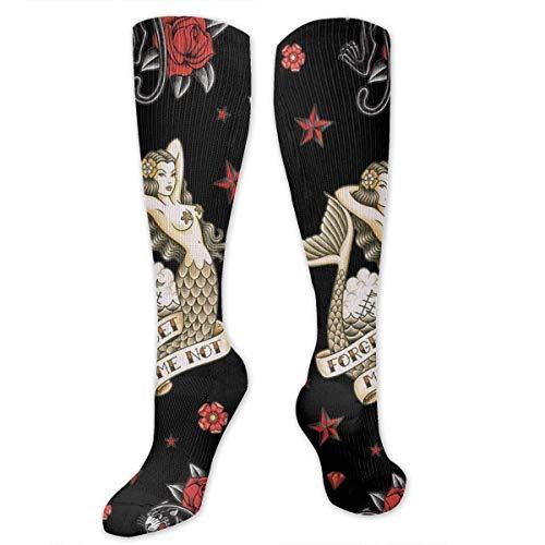 ouyjian Old School Tattoo Black Men's/Women's Sensitive Feet Wide Fit Crew Socks And Cotton Crew Athletic Sock