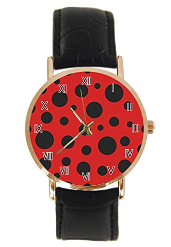 Niedliche Marienkäfer Marienkäfer mit Gänseblümchen Armbanduhr Fashion Klassisch Unisex Analog Quarz Edelstahl Gehäuse Lederarmband Uhren