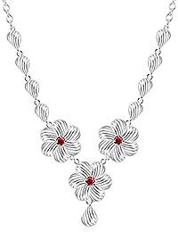 La Vogue Collier Ras De Cou Parure Sautoir Plastron Trois Fleur Cristaux Rubis Faux Femme