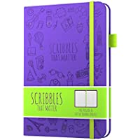 Scribbles That Matter - Dotted Journal Notebook Diary A5 - Premium Thick Paper - Elastic Band - Beautiful Designer Cover (Purple)