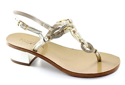 PREGUNTA IAU4002 platino scarpe donna sandali pelle cinturino strass 40