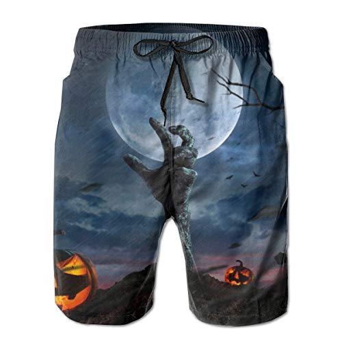 Bañador de Hombre Shorts de baño de Playa de Secado rápido Zombie Hands Rising In Dark Noche de Halloween...