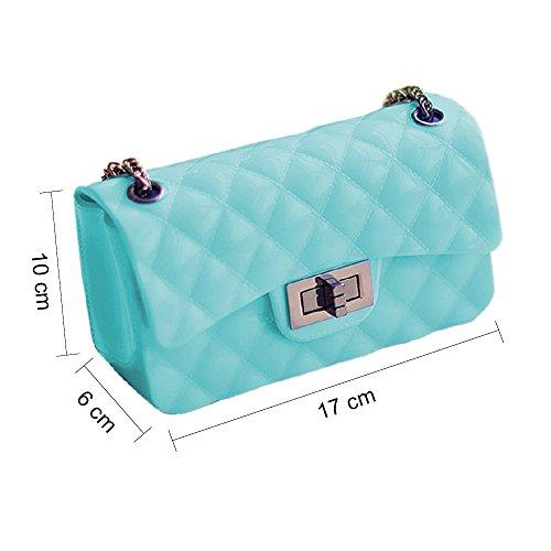 BYD Sacs à main Femmes Mini Les sacs à main de mode casual Lady sac d'épaule des PU cuir de couleur unie de style dame douce plaid sacs Azur