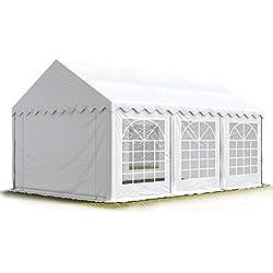 TOOLPORT Party-Zelt Festzelt 4x6 m Garten-Pavillon -Zelt 500g/m² PVC Plane in weiß Wasserdicht