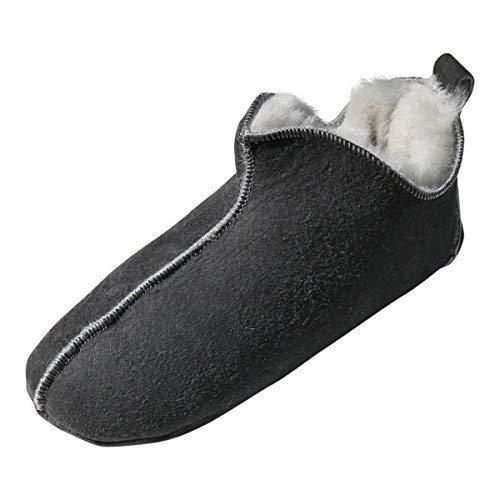 Hollert Leather Lammfell Hausschuhe - Bali Fellschuhe Lederschuhe Bettschuhe Puschen Größe EUR 44, Farbe Grau/Weiß