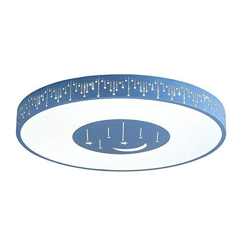 KUVV Kronleuchter Einfache Moderne Kinderzimmer Lampe Schlafzimmer Cartoon Kreative Restaurant Korridor Sterne Led Dekoration Acryl Deckenleuchte Dreifarbige Licht 50x50x6 cm (Farbe : Blue) - 6-lampe-eitelkeit Licht
