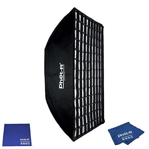 Phot-R Professionelle 60 x 90cm faltbar Strip Softbox mit Bowens Mk.VI Speedring & Wabenraster zu Foto Studio Lighting Flash + Microfibre & Chamois Tuch Strip Light Softbox