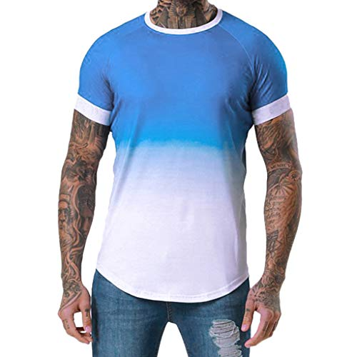 18f85228cd00b4 NPRADLA Mens T Shirts Youth Tees Summer Short Sleeve Patchwork Graduated Workout  Fitness Tops Blouses Blue