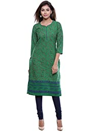 MOMO Casual Printed 3/4 Sleeves With Heart Shape Neck Knee Length Cotton Kurti For Women In All Colors