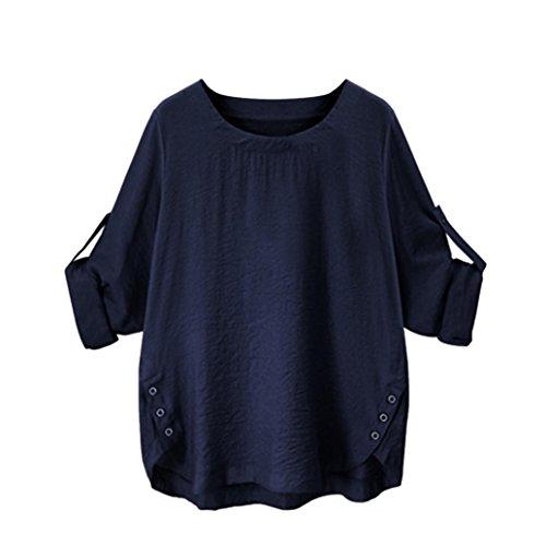 SEWORLD 2018 Damen Mode Sommer Herbst Elegant Tägliche Rundkragen Loses Langarm Hemd Beiläufige Bluse Knöpfen Sie unten Spitzen(Dunkelblau,EU-50/CN-3XL)