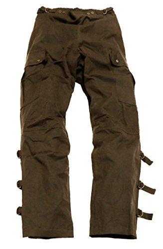 Kakadu Traders Australia Überziehhose in schwarz und braun aus gewachster Baumwolle zum Motorrad Fahren oder zum Reiten, wasserabweisend und atmungsaktiv