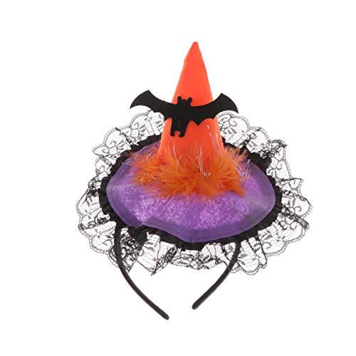 Amosfun Halloween Hexe Stirnband Hexe Hut Fledermaus Muster Spitze Haarreif Kopfbedeckung für Halloween Party Kostüm Cosplay Requisite