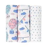 Emma+Noah Mullwindeln, extra weich und saugfähig, 3er Pack, 100% Baumwolle 80x80 cm, doppelt gewebt, verschiedene Sets, Spucktücher, Baby Tuch, Mulltücher, Stoffwindeln, Molton-Tücher (Heißluftabllon)