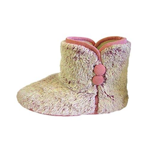 sendit4me Bottes de Pantoufles moelleuses avec Passepoil Contrastant gris / rose