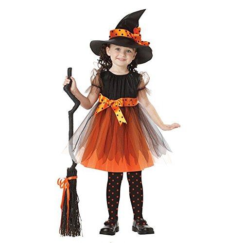 Costume da strega vestiti halloween bambina costume halloween bambini vestiti carnevale costumi strega vestito e cappello giallo 120cm