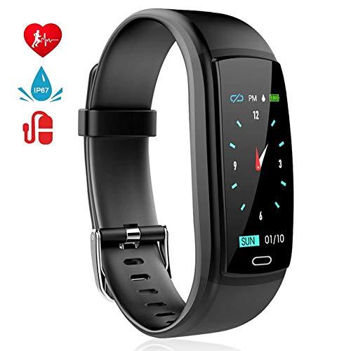 MINLUK Fitness Armband mit Pulsmesser Blutdruckmesser Fitness Tracker Wasserdicht IP67 Aktivitätstracker Schrittzähler Kalorienzähler Bluetooth Pulsuhren mit Farbdisplay Schlafmonitor Stoppuhr