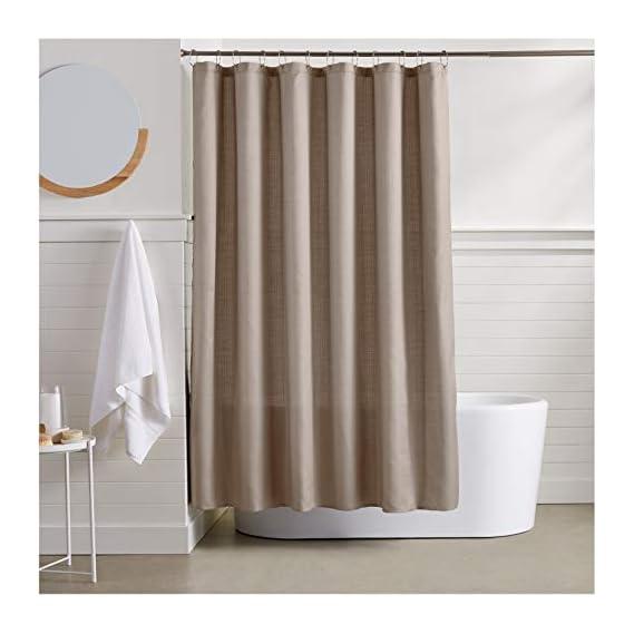 AmazonBasics Linen Style Shower Curtain - Taupe