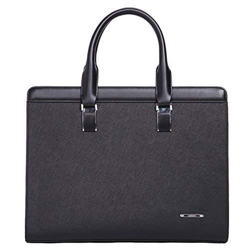 Leathario maletin Ordenador de Piel Sintetico Bolso de Hombre de Cuero autentico maletin portatil Ejecutivo Profesional Documentos para Trabajo de Color Negro
