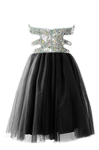 MACloth Women Strapless Cutout Sequin Short Prom Evening Dress Formal Ball Gown Dunkelgrun
