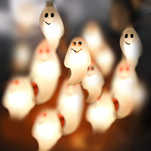 Kostüm Nähen Keine Ghost - Tuttavia 1,2 Mt 10LED Ghost Lichterketten Für Halloween Party Decor Halloween Lichterketten Halloween Ghost Light String (1,2 m, 10 Stück) (Gelb)