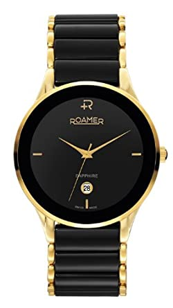 roamer men s quartz watch black dial analogue display and roamer men s quartz watch black dial analogue display and black stainless steel bracelet 677972 48