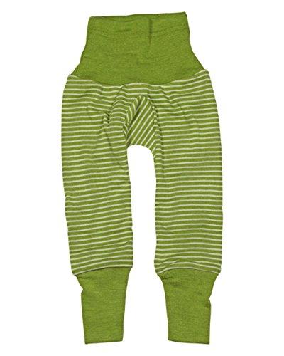 Cosilana Cosilana Baby-Hose mit Bund aus kbT-Schurwolle und Seide (50/56, Gruen Geringelt)