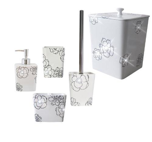 Ridder 229908010-350 - Set di 5 accessori: bicchiere, distributore di sapone 270 ml, scopino per water, bicchiere per spazzolini, cestino 5 l, in poliresina, colore bianco