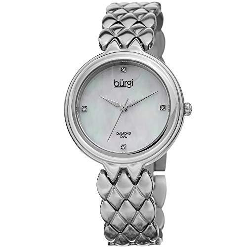 Burgi Femme Bur193ss Diamant Accented Cadran Nacré Bracelet en Acier Inoxydable Argenté Montre