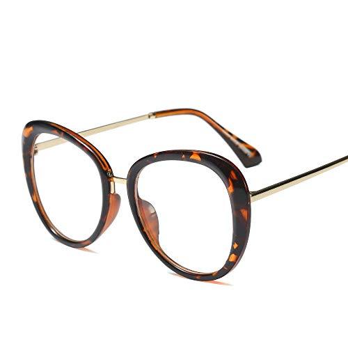Easy Go Shopping Mode Vintage Metall Wild Brille Horn umrandeten klare BrillenglasMänner und Frauen Sonnenbrillen und Flacher Spiegel (Farbe : Leopard Print)
