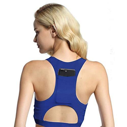 Yvelands Damen Yoga-BH Einteiler Sport-BH atmungsaktiv Fitness 1/2 BH Yoga-BH mit Tasche(Blau,S)