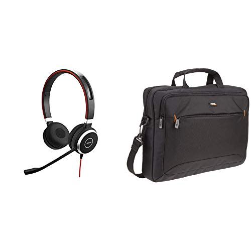 40 MS Stereo-Kabel-Headset mit USB und 3,5 mm-Klinke für PC/Laptop/Smartphone/Tablet, Busylight, für Skype for Business & AmazonBasics Tasche für Laptop/Tablet mit Bildschirmdiagonale 15,6Zoll Binaural-stereo