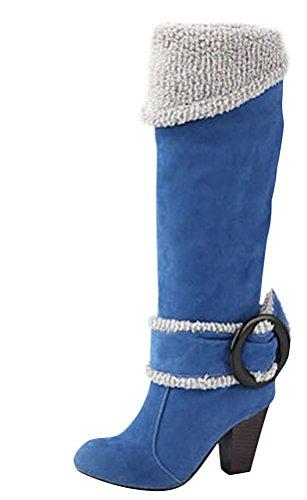 Minetom Damen Herbst Winter Knie Stiefel High Heels Schnalle Stiefel Klobig Fersen Biker Stiefel Blau EU 42 (6 Zoll-knie-boot)