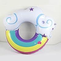 ZHANGJIANJUN 130 cm Anillo de Natación Piscina de Flotación Inflable con Posavasos Rainbow Verano Nube inflada Deriva de Agua Salvavidas Cama de Flotación