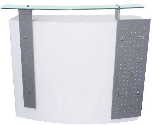 FIGARO Rezeption Rezeptionstheke mit Frontblende sowie Glasablage Farbe silbergrau / weiß