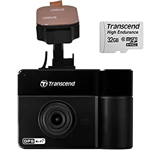 Transcend TS-DP550A-32V DrivePro 550 Dual Lens 1080P Full HD Dashcam With Built-in Wi-Fi and GPS Includes Adhesive Mount - (Cameras > Dash Cams)