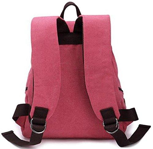 Stormaiy Multifunktionale beiläufige Segeltuch -Rucksack-Schule-Beutel-reisender Beutel Camping Tasche Studentenschulrucksack Rucksack Daypack (Blau) Rose Red