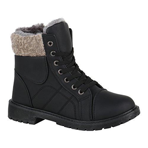 Damen Schuhe Schnürstiefeletten Warm Gefütterte Stiefeletten Kunstfell 150391 Schwarz Bexhill 40 Flandell