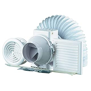 High Power Inline Loft Mounted Bathroom Extractor Fan Kit 100mm 4