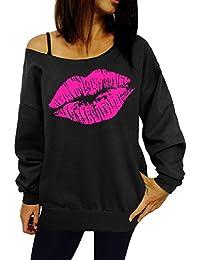 Damen Herbst Winter Langarm Schulterfrei Pullover Lippen Druck Sweatshirt  Batwing Top Shirts 48d3b0f725