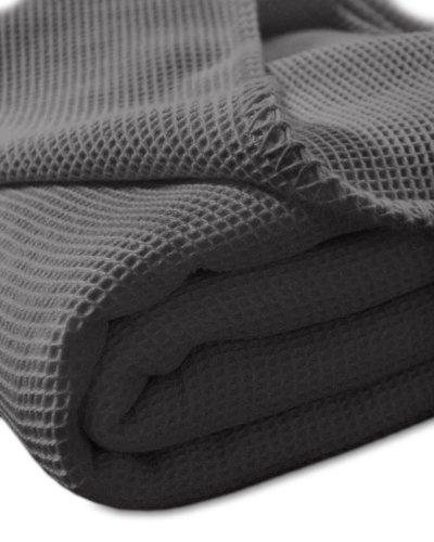 Kneer 9151284 La Diva Waffelpique-Decke mit Ziersticheinfassung 150/210 cm, schiefer