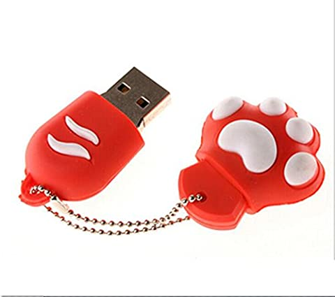 Clé USB Pas Cher 16 go Couleur Rouge Patte de Chat Girly gift