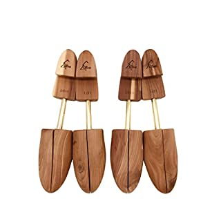 Alsa Men's Single Tube Cedar Shoe Tree with Wide Heel and Adjustable Split Toe (2 Pack) (Medium)