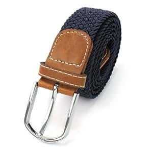 Cintura Intrecciata Uomo Tinta Unita Blu Scuro CUOIO Elasticità Sportivo Golf