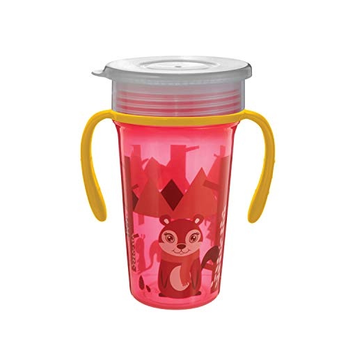 BeeBaby 360° Degree Magic Spoutless Transition Sippy Cup with Handle (RED)