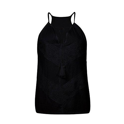 EUZeo-Damen Bekleidung Frauen Sommer Spitze Ärmelloses Weste,EUZeo V-Ausschnitt Oberteile Elegant Tank Tops Bluse T-Shirt (L, Schwarz)