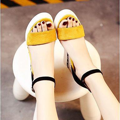 Scarpe Donna FYZSDonne Sandali estate Club scarpe da sera in pelle scamosciata Casual Zeppa Giallo Nero US8 / EU39 / UK6 / CN39