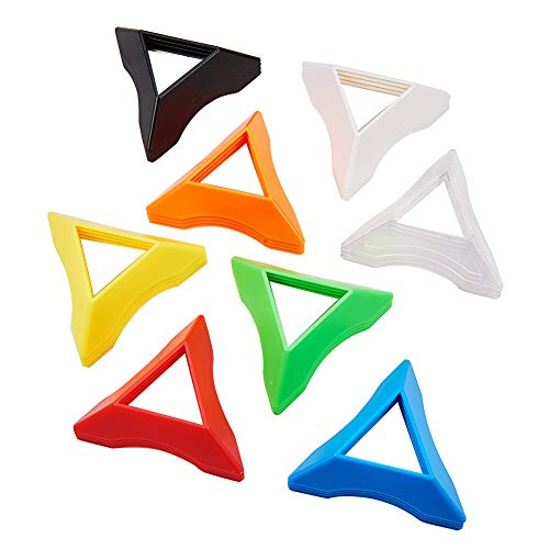 PH PandaHall 32 Stück 8 Farben Kunststoff Triangle Speed Magic Cubes Base Holder Frame Accessories Puzzle Cube (Gelb, Rot, Grün, Blau, Schwarz, Weiß, Orange, Transparent) (Photo Frame Magic)